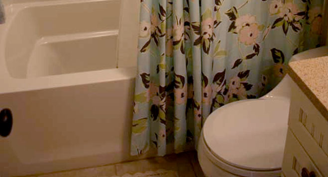 Shower Curtain In Small Bathroom White Bathtub