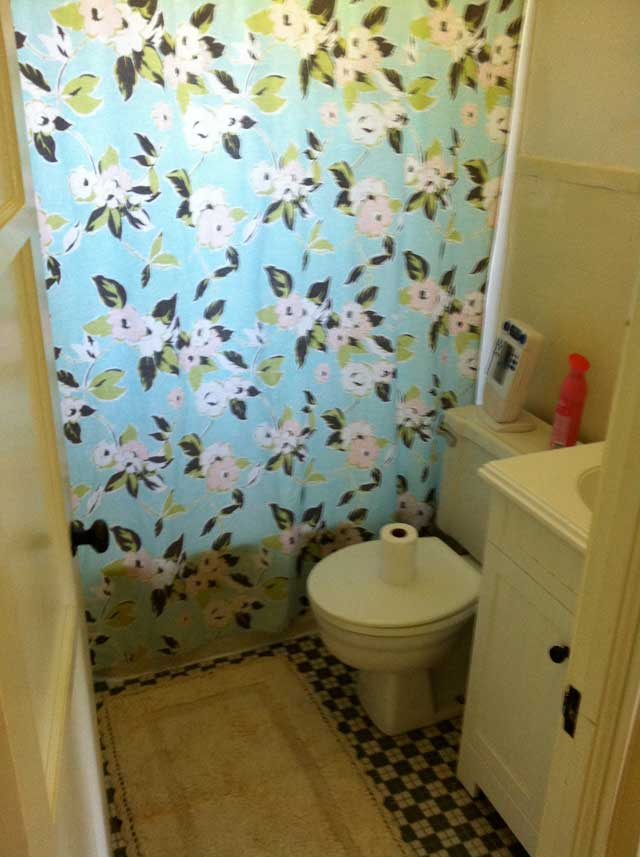 Flower Shower Curtain Green Checkered Tile Small Bathroom With White Vanity