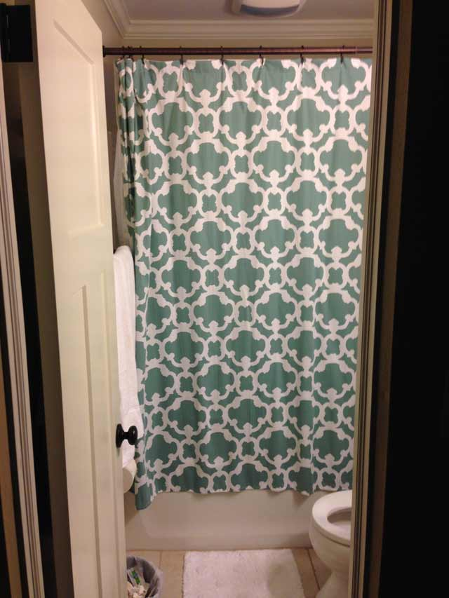 Blue Shower Curtain Hanging Near Ceiling In Tiny Bathroom