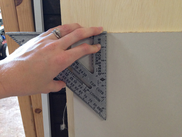 using speed square to mark cut line on drywall drywall for cutting