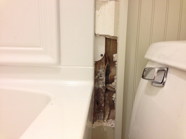 small section of drywall removed to reveal wall studs next to toilet