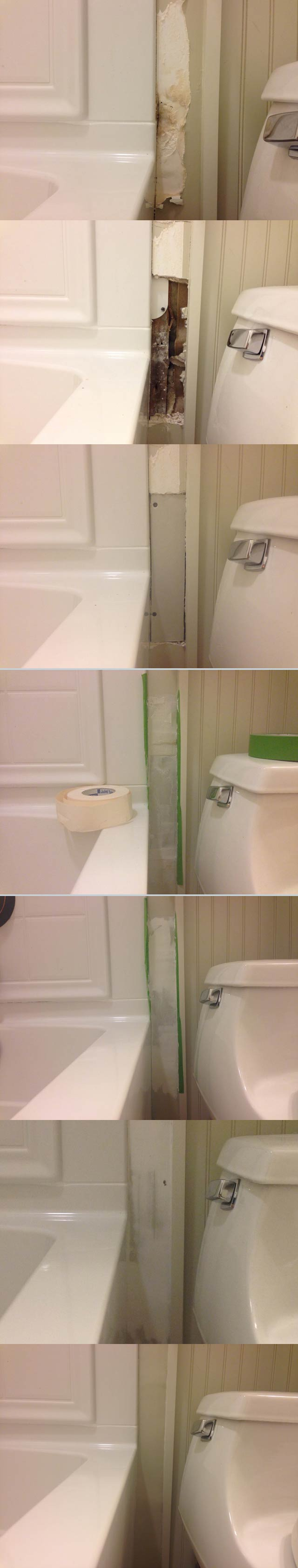 Repair Caulk Grout And Drywall In A Weekend Checking In With Chelsea - Repair bathroom wall water damage