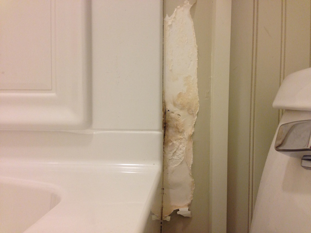 water damaged, peeling drywall next to toilet and bathtub shower