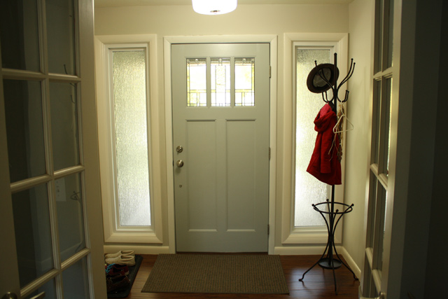 Tips to improve curb appeal on your home checking in with chelsea interior side of front entry door painted grey with coat hanger in corner planetlyrics Gallery