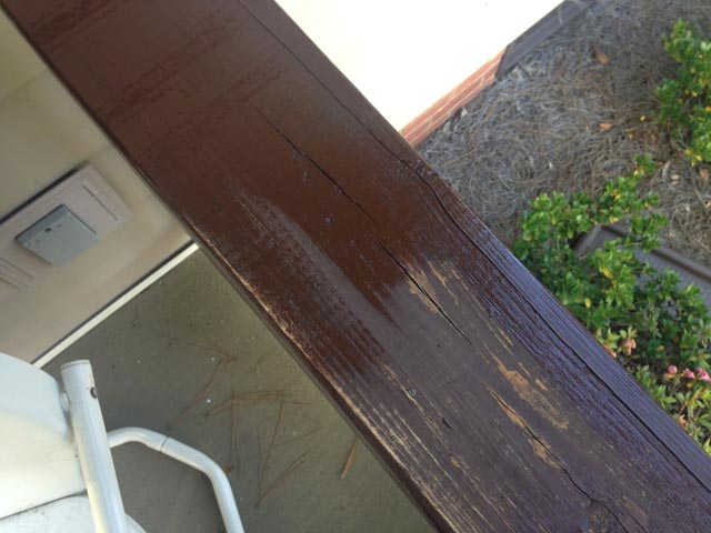 wood stained handrails half stained