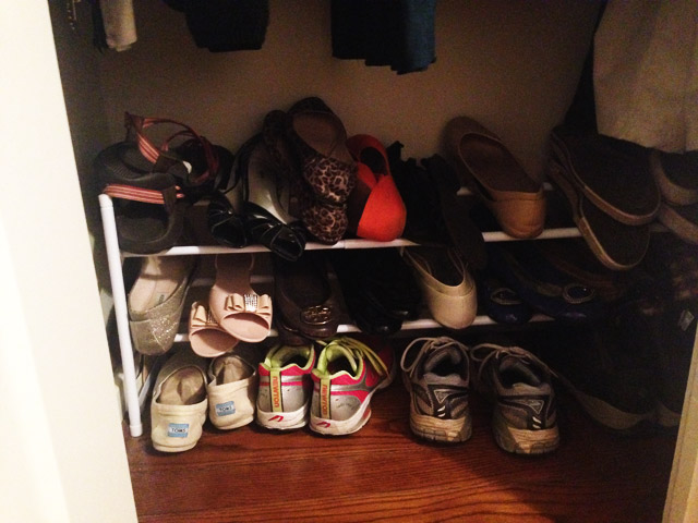 white shoe rack with flat shoes and running sneakers