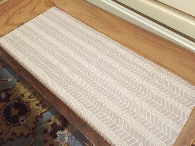 New Fabric In Place As Liner In Bottom Of Wood Dresser Drawer