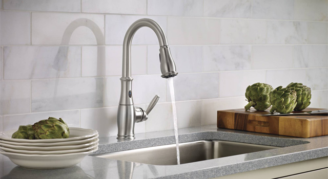 Moen kitchen faucet with motionsense technology in spot resist stainless finish