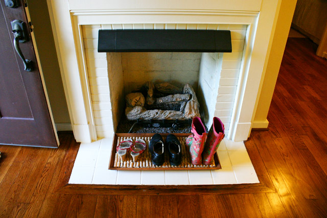 Shoe Tray in Front of Fireplace