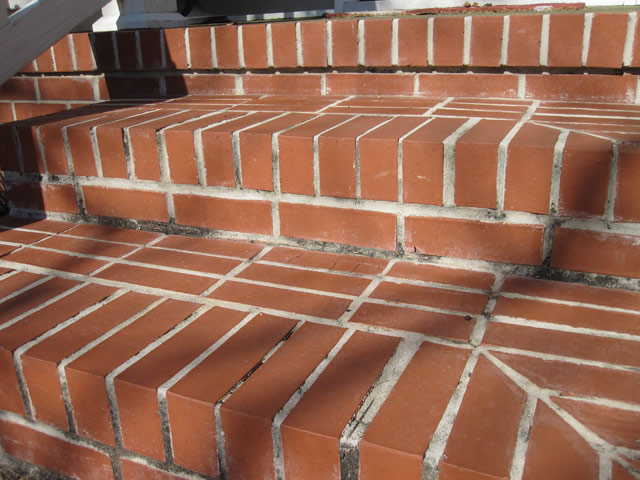 red brick steps with moldy mortar