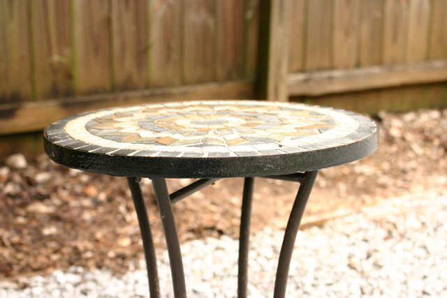 tiled round top plant stand table
