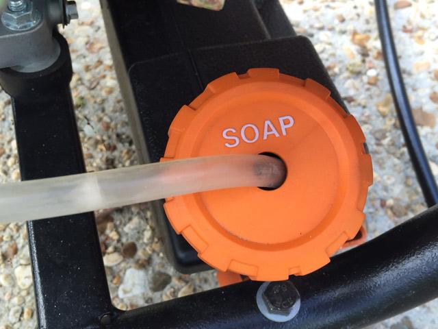 lid of soap reservoir on generac pressure washer
