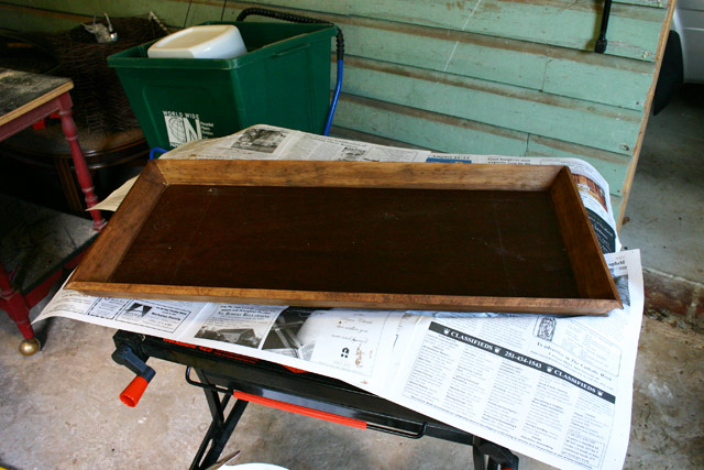 stained wood shoe tray under construction how-to
