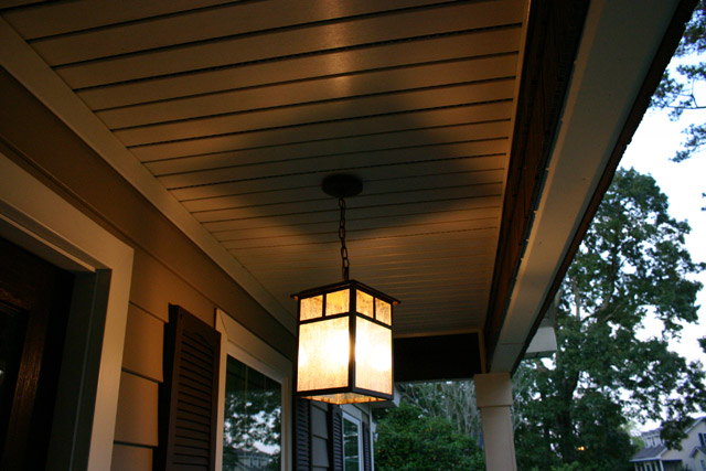 Light Fixture Installed on Vinyl Porch