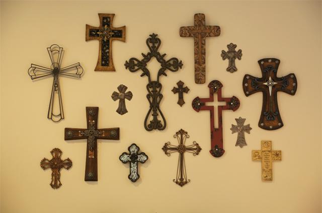 wood cross metal cross gallery wall