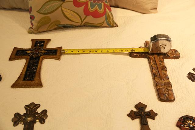 tape measure metal and wood crosses