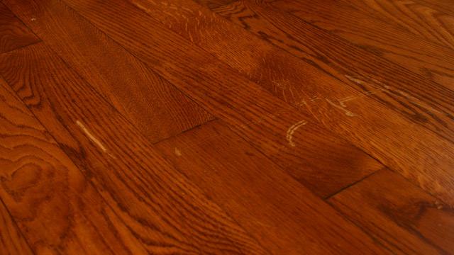 scratch in hardwood floor before repair